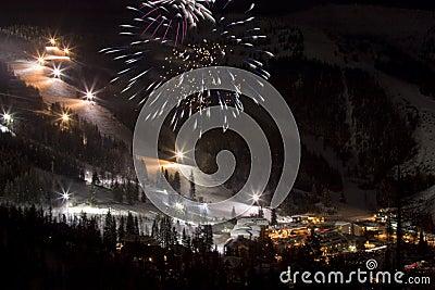 Fireworks at Night at a Ski Slope