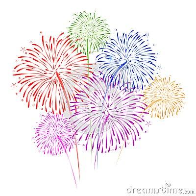 Free Fireworks On White Background Vector Illustration Royalty Free Stock Photos - 52135598