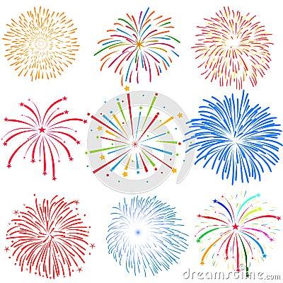 Free Fireworks On White Background Vector Illustration Royalty Free Stock Image - 52136016
