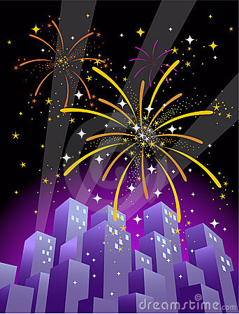 Free Fireworks Over A City Skyline In Vertical Format 2 Royalty Free Stock Photos - 1528038