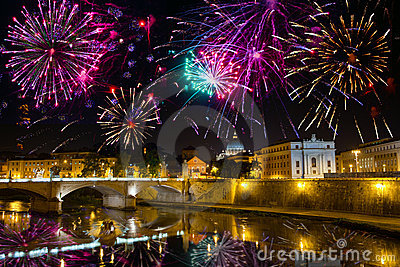 Fireworks over bridge Vittorio Emmanuel.Italy.Rome