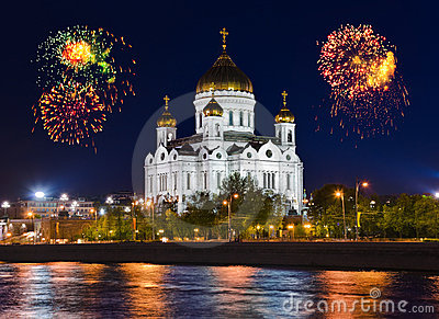 Fireworks over cathedral in Moscow