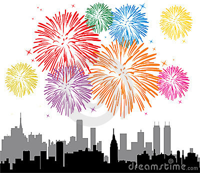 Fireworks Over A City Stock Photos - Image: 19066963
