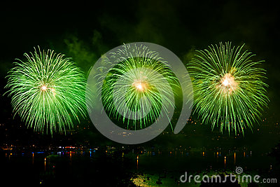 Fireworks over the city of Annecy in France for the Annecy Lake