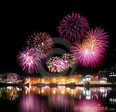 Free Fireworks Over City By The Water Stock Photography - 11574832