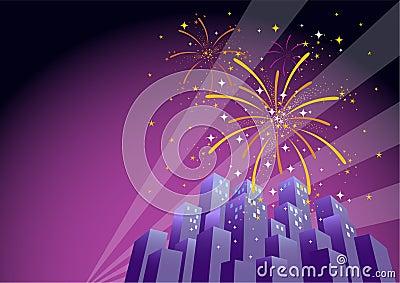 Fireworks Over a City Skyline-Horizontal 1