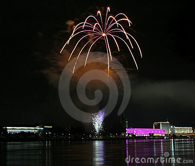 Fireworks over the danube in Linz, Austria #1