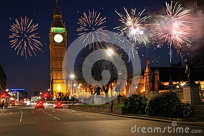 Fireworks over houses of parliament
