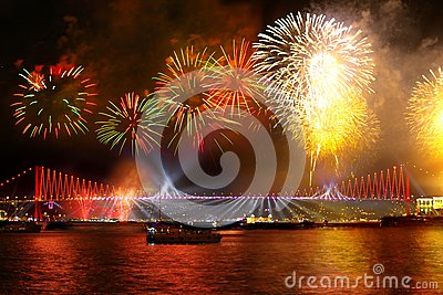 Fireworks over the Istanbul