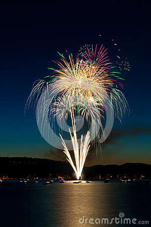 Free Fireworks Over Lake Stock Image - 25249211