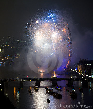 Fireworks over London Eye and Westminster Editorial Photo