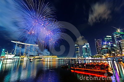 Fireworks over Marina Bay Editorial Stock Photo