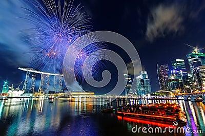 Fireworks over Marina Bay Editorial Stock Photo