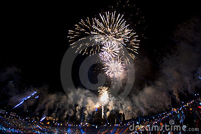 Fireworks over stadium during ending Editorial Photo