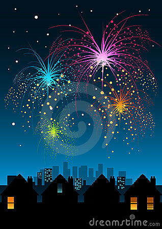 Free Fireworks Over The City Royalty Free Stock Photography - 1736797