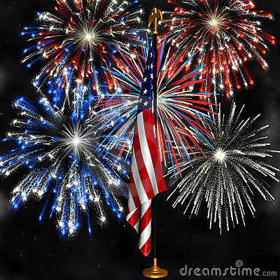Fireworks Over Us Flag Stock Photos