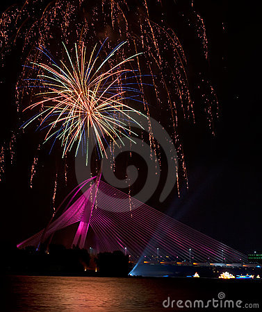 Fireworks at Putrajaya Floria Festival 2011 Editorial Photography