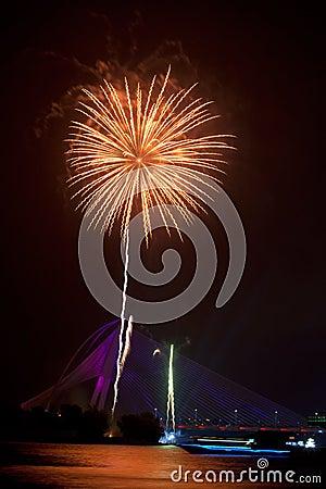 Fireworks at Putrajaya Floria Festival 2011 Editorial Image