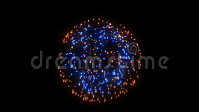Fireworks, red and blue holiday background, against black. Video footage stock video footage