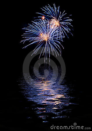 Fireworks reflecting on water