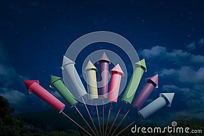 Fireworks setup at night