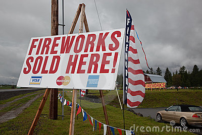 Fireworks Signs Editorial Stock Image