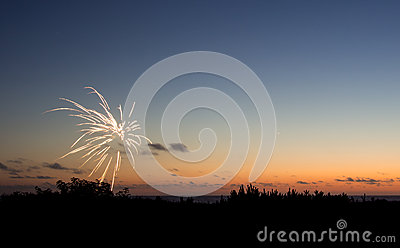 Fireworks at sunset