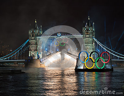 Fireworks at Tower Bridge: London 2012 Olympics Editorial Stock Image
