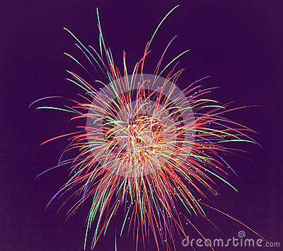 Fireworks  of various colors over dark sky. soft f