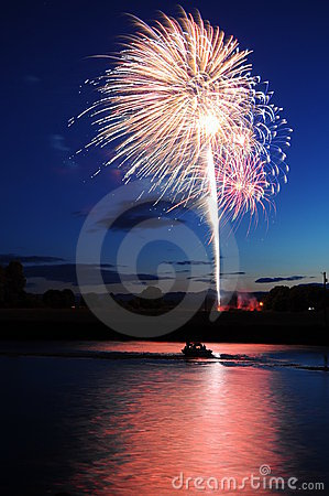 Free Fireworks With Water Reflection Stock Photography - 16370982
