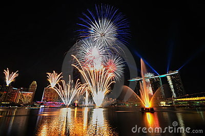 Fireworks during Youth Olympic Games 2010 Opening Editorial Stock Image