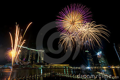 Fireworks at Youth Olympic Games Opening (3) Editorial Stock Photo