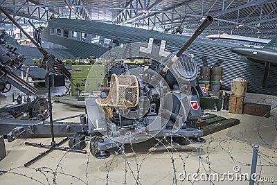 German anti aircraft gun battery Editorial Stock Photo