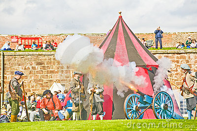 Firing the cannon. Editorial Stock Photo