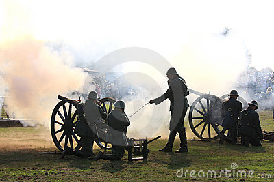 Firing cannons of historic Field Artillery Editorial Stock Photo