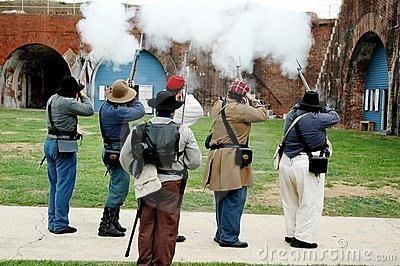 Firing Guns at Fort Morgan