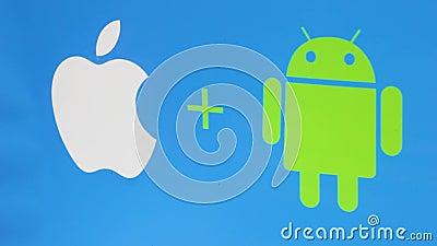 Firmar iconos de muestra manzana y androide fondo móvil de tecnología