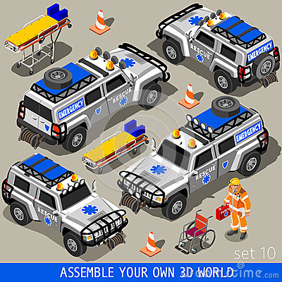 Free First Aid 02 Vehicle Isometric Stock Photography - 60052032