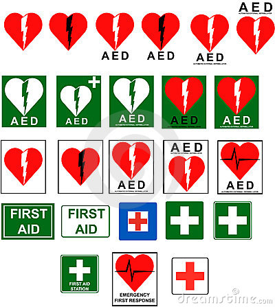 Free First Aid - AED Signs Royalty Free Stock Photo - 14551955