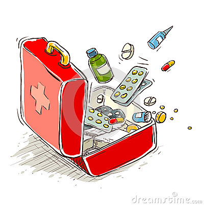 Free First Aid Box With Medical Drugs And Pills Royalty Free Stock Photo - 35820885