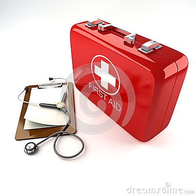 Free First Aid Box With Stethoscope Stock Photos - 25199143