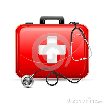 Free First Aid Box With Stethoscope Royalty Free Stock Photo - 32612035