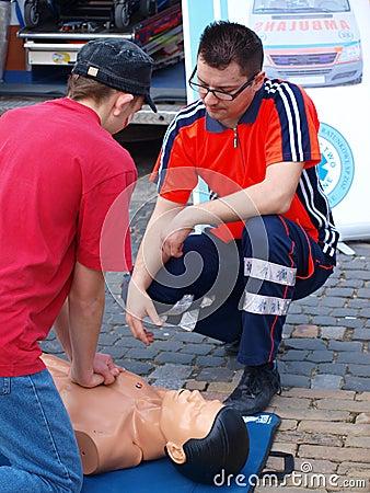 First aid lesson, Lublin, Poland Editorial Photo