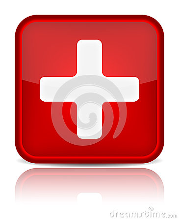 First aid medical button sign with reflection isol
