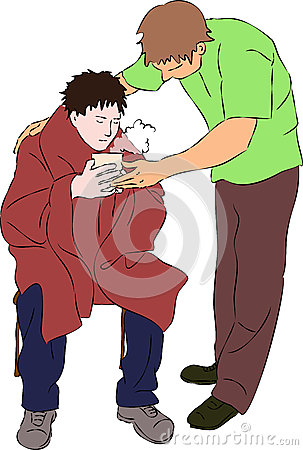 Free First Aid - Warm Drink And Blanket For Injured Man Stock Photo - 72672490