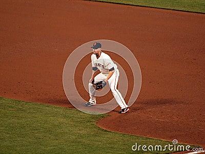 First baseman Aubrey Huff squats at first waiting Editorial Photo