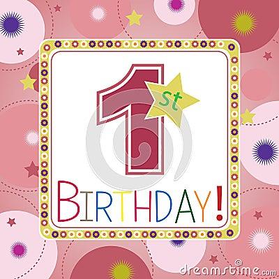 Happy Birthday Card For 1st Birthday Image Image 32120371 – 1st Birthday Cards