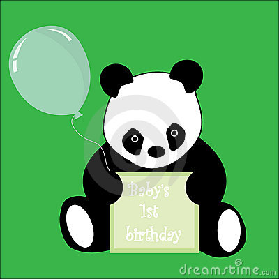 First Birthday sign and baby Panda
