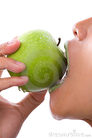 First bite of green apple