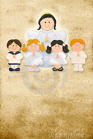 First communion card,angel with children